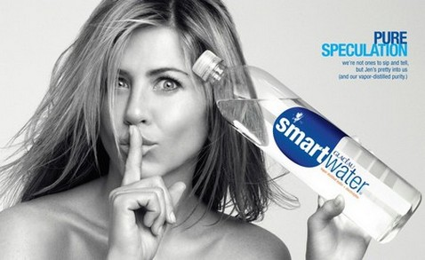 This ad's strategy is saying that Jennifer Aniston drinks Smartwater,